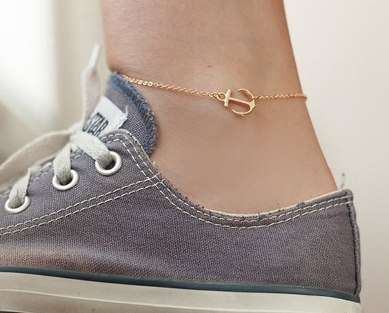 Tiny sideways anchor anklet - dainty anchor anklet, summer ankle bracelet, anklet, nautical jewelry, sideways ankle bracelet on Etsy, $21.00