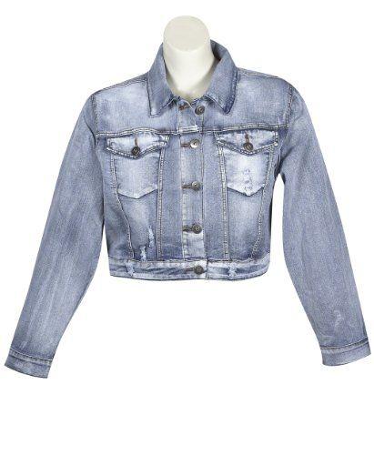 Plus Size Distressed Denim Jacket --Size: 2x Color: Blue