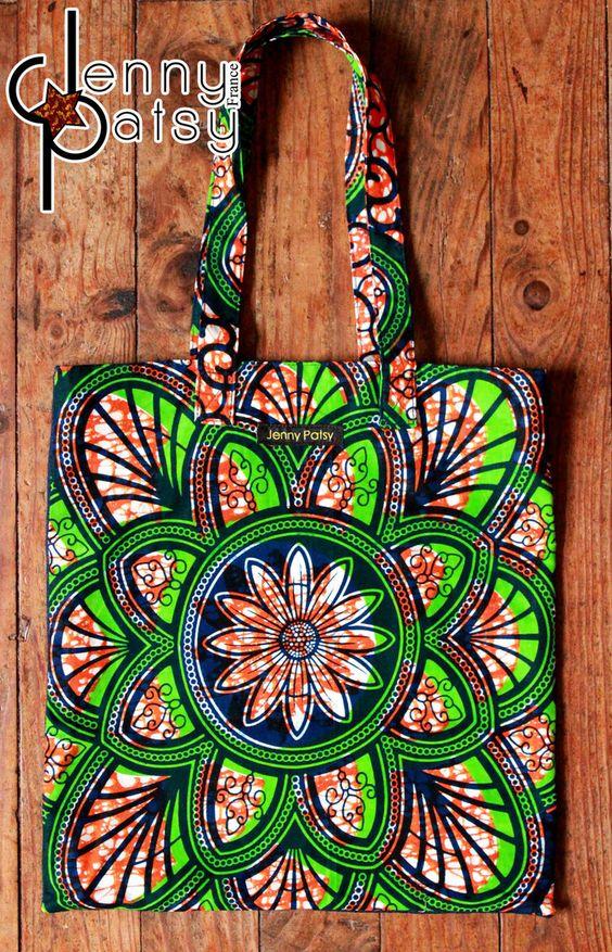Tote Bag Wax Vert/Orange et Jean par jenny-patsy - Tote bags et sacs de…