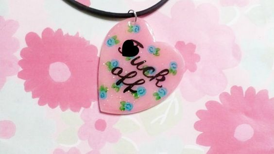 MATURE Bad girl necklace//floral heart by LiaLane on Etsy