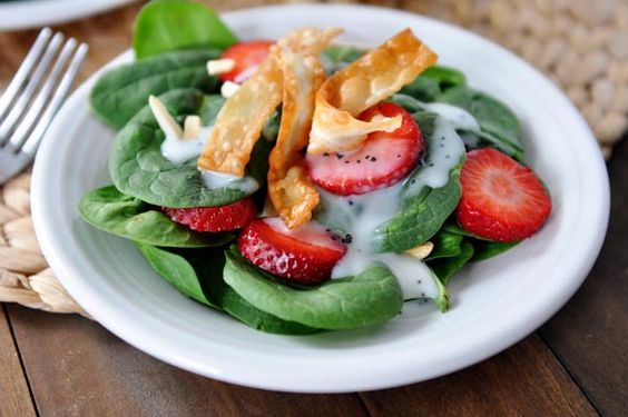 Mel39;s Kitchen Cafe  Spinach Strawberry Salad with Homemade Creamy