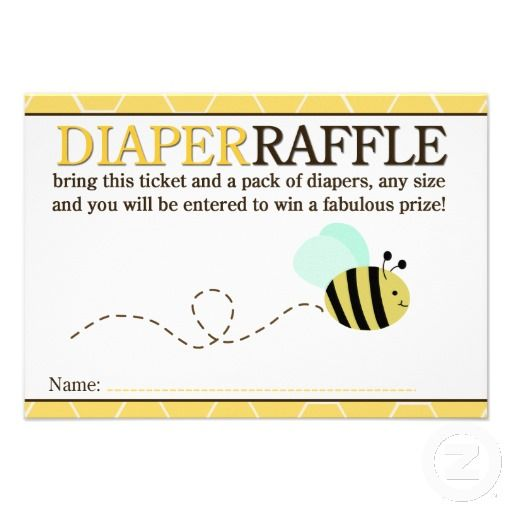 Bumble Bee Shower Diaper Raffle Card
