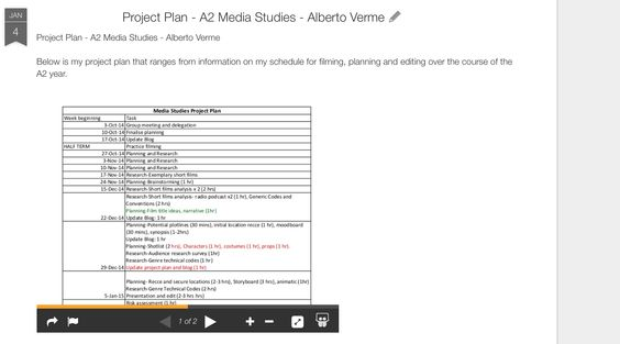 Planning Stage - Microsoft One Drive was used in order to enable - evaluation plan