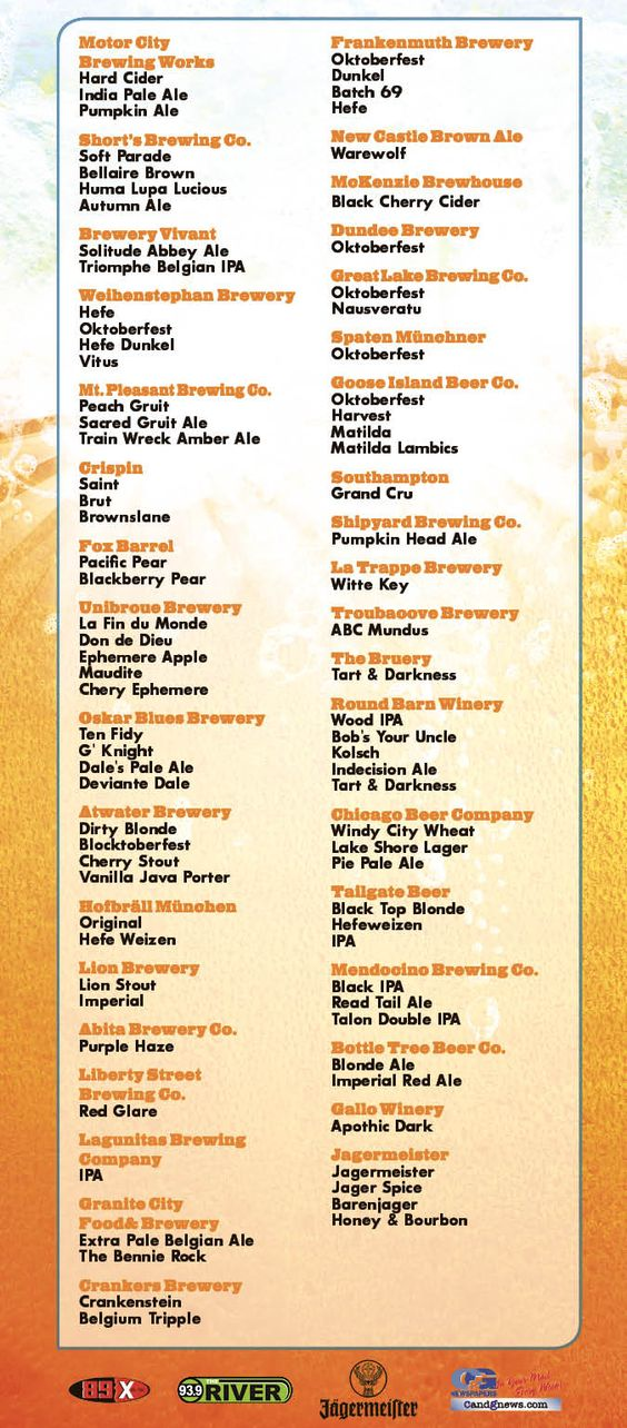 Royal Oak Beer Fest - beer list #mibeer #mibeertours #royaloak - beer menu