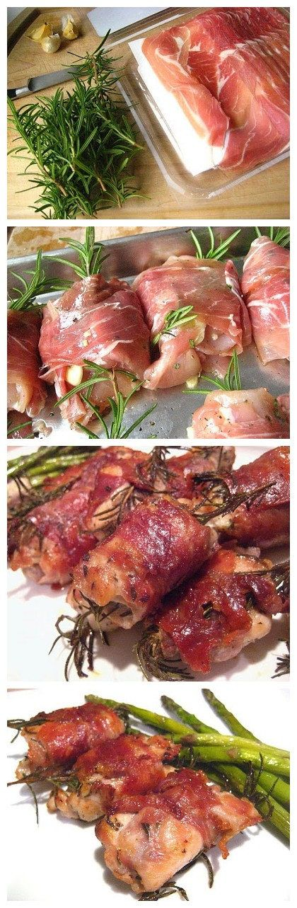 Prosciutto Wrapped Chicken Thighs Bake at 375, covered, for 40 min Uncover and bake 15 min more