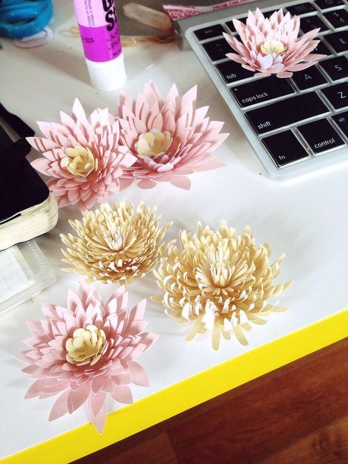 Paper water lilies chrysanthemums tutorial flower for Handmade paper flowers tutorial