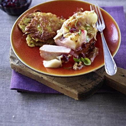 Kasseler mit Camembert-Haube zu Rösti Rezept