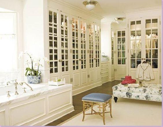Combo bath and dressing room. LOVE the glass closet doors.
