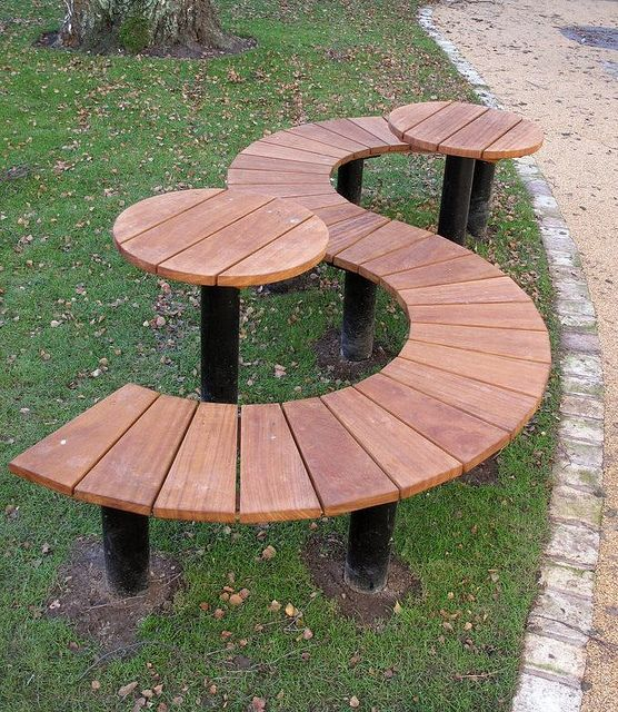 Half round bench s shaped seat gardening inspirations for Outdoor table with bench seats