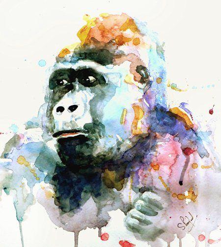 watercolor gorilla - Google Search                                                                                                                                                      Mais