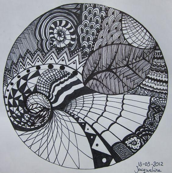 Supermooie tekening met enkel pen en inkt. Mooie verschillende vlakken die telkens anders opgevuld werden.
