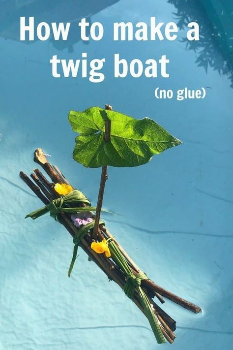 How to make a twig boat,  Twig rafts, Stick boats or whever you call them are just the best fun to make. Simple nature craft activity to delight your child and something to play with after. Best of all it only uses natural materials and no glue is requitred and it is of course entirely free
