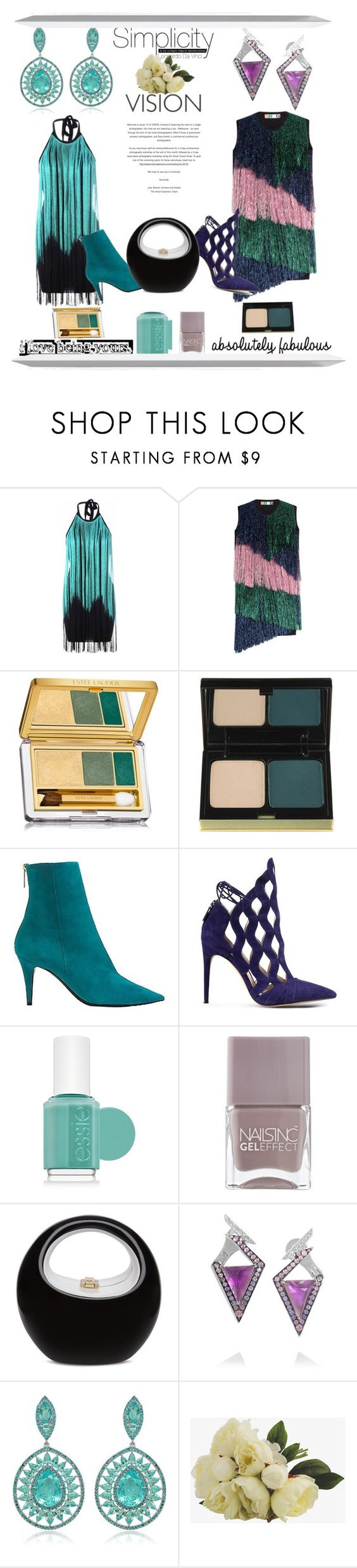 """""""Swing Out Sister"""" by pampire ❤ liked on Polyvore featuring Glamorous, MSGM, Estée Lauder, Kevyn Aucoin, Tamara Mellon, Alexandre Birman, Essie, Nails Inc., Stephen Webster and Sutra"""