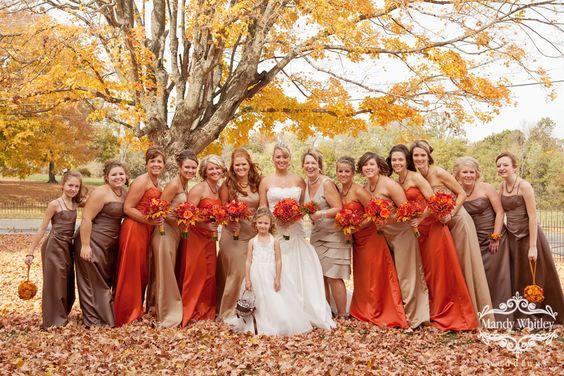 fall wedding: Wedding Idea, Bridesmaid Dresses, Bridesmaids Dresses, Orange Dress, Fall Wedding Colors, Fall Color