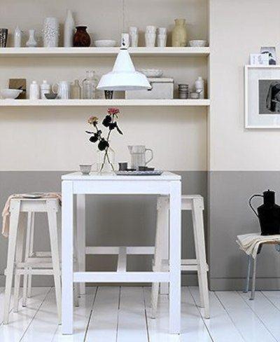Cuisine mur demi peint en gris chambre enfant - Peinture soubassement ...