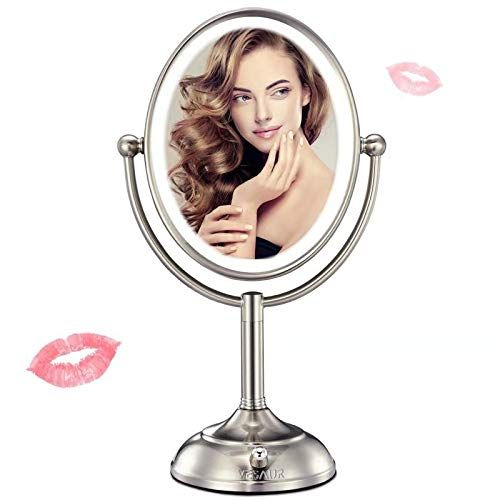 Professional 8x7 Lighted Makeup Mirror Vesaur Oval Magnifying Led