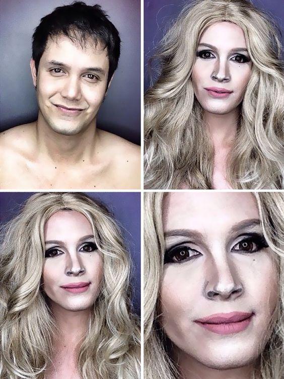 Ator se transforma em famosas como Katy Perry e Kim Kardashian com maquiagem
