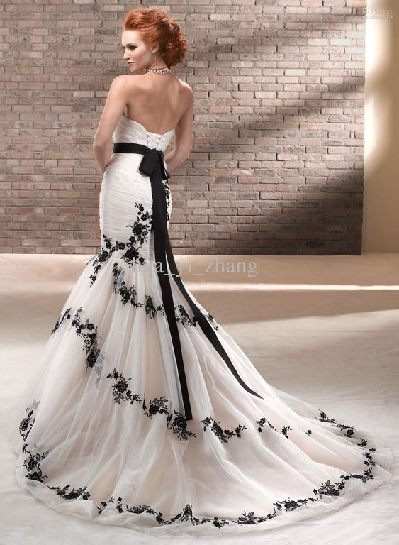 30+ Black and White Wedding Dresses Combination : Wedding Gowns Black And White Favorable
