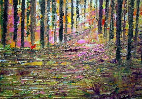 Abstract Modern Art The LIGHT Trees Landscape by LUIZAVIZOLI, $350.00