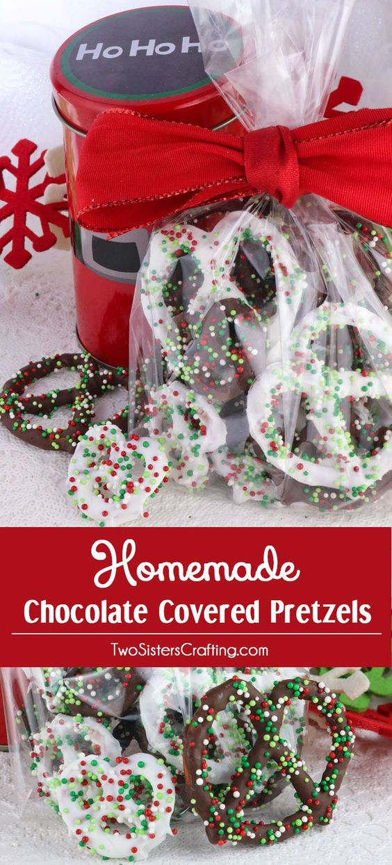 Homemade Chocolate Covered Pretzels - a very easy to make Holiday Food Gift, Christmas Teacher Gift or Christmas Treat for your family.  Sweet, salty and delicious, this Christmas Dessert is fun and festive and delicious. Pin this Holiday Snack for later and follow us for more great Christmas Food Ideas.