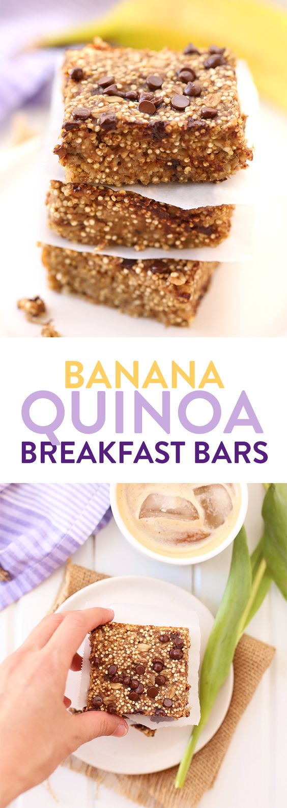 For a quick and healthy snack on the run grab one of these banana quinoa breakfast bars made with quinoa, rolled oats and dairy-free chocolate chips. #vegan #glutenfree #quinoabars