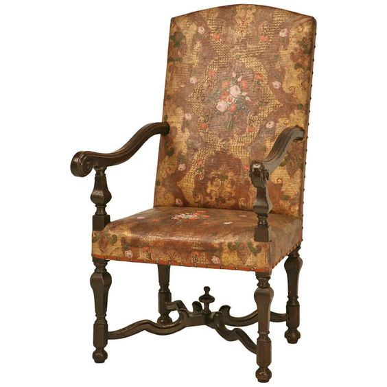 "Phenomenal Antique ""Embossed Painted & Gilded Leather"" Throne Chair 