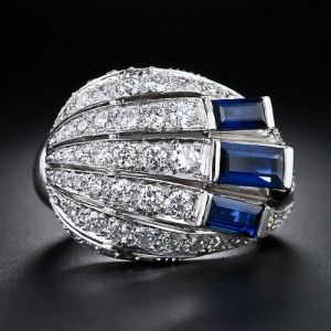 Art Deco Diamond and Sapphire Cocktail Ring by shauna