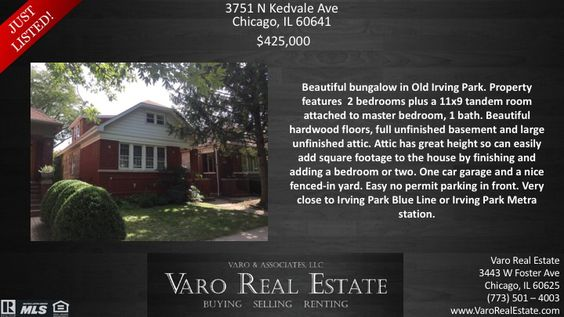 Awesome new #House #JustListed! #VaroRealEstate #RealEstate #Realtor #Chicago #OldIrvingPark #Home #Listing