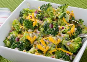 """Southern Broccoli Salad - This refreshing broccoli salad is a great summer side is straight from """"Hello Taste, Goodbye Guilt!"""" by the Mr. Food Test Kitchen, a cookbook published by the American Diabetes Association. Pair it with barbecued chicken, grilled fish, veggie kabobs or pork chops."""