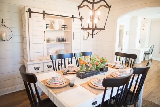 The formal dining room was floor to ceiling wallpaper for Joanna gaines dining room ideas