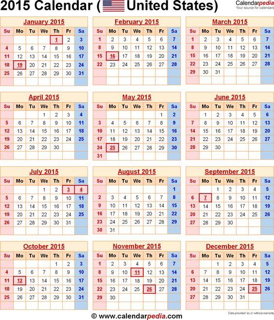 2015 calendars 2015 Calendar with Federal Holidays \ Excel\/PDF - sample 2015 calendar