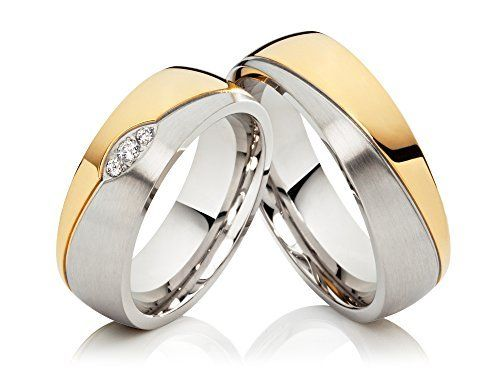 2 Ringe Eheringe Trauringe Verlobungsringe mit Zirkonia /& Lasergravur