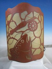 Rustic Trout Tin Wall Lamp