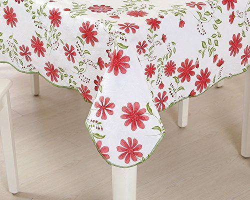 Blossom Flower Floral Tablecloth Pvc Oil Resistant Waterproof Kitchen Tablecover Uforme