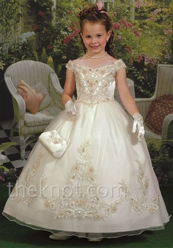 Elegant beaded off-the-shoulder flower girl dress - F653 from ...