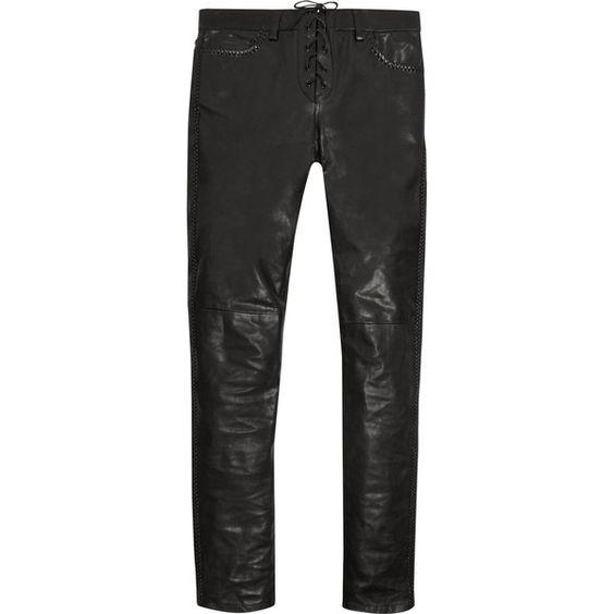 Saint Laurent Leather skinny pants ($1,800) ❤ liked on Polyvore featuring pants, black, genuine leather pants, stretchy pants, super skinny pants, leather skinny pants and real leather pants