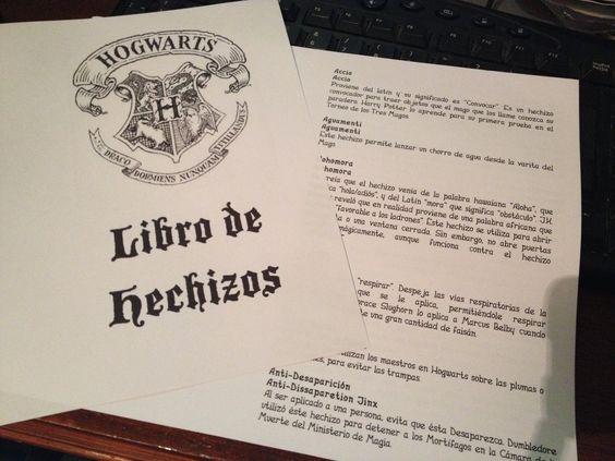 Libro de hechizos de Harry Potter en pdf para imprimir en casa.: