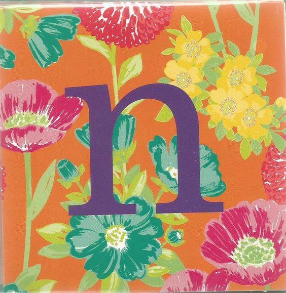 "Floral Punch Orange Note Cards Monogram ""n"" Michaels Stores Green Envelopes #MichaelsStores"
