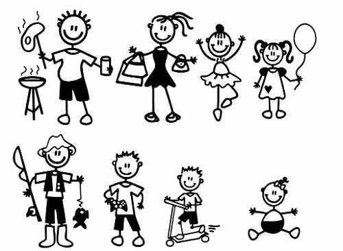Calcos Vinilo Stickers Para Auto Personajes Familia Mascota