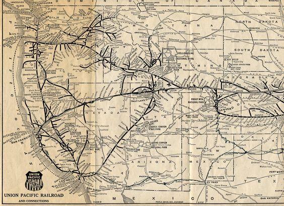 Pacific Union Trains 1925 Union Pacific Railroad Map