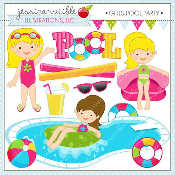 Clip Art Pool Party Clipart girls pool party cute clipart clip art summer digital for card design scrapbooking and web design