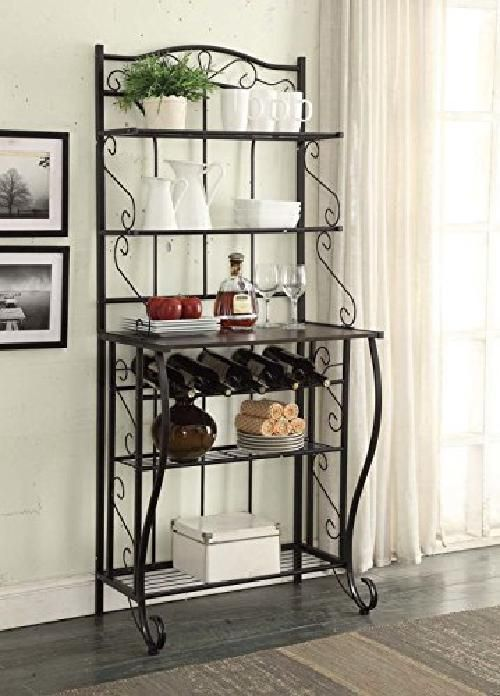 Kitchen Shelf Rack Durable Metal 5 Tier Living Room Vintage Bakers