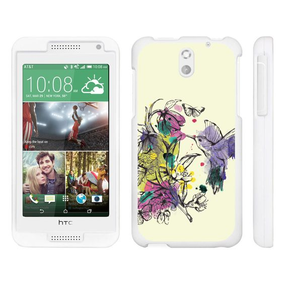 HTC Desire 610 Case SNAP SHELL Hard White Plastic Case with Non Slip - Hummingbird Flowers