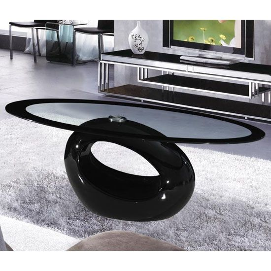 Cairo Oval Black Border Glass Coffee Table With Black Gloss