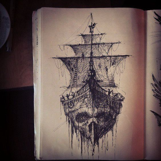 """Death ship with """"Dead men tell no tales"""" would be such an aweosme tat. Think of getting a pirate tat with my dad."""