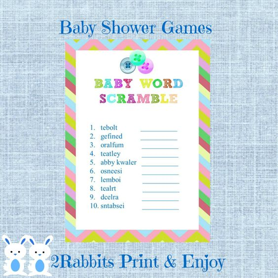 with answers button shower baby word scramble baby shower game
