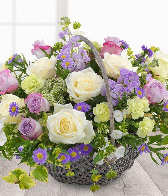 Country Garden Basket - lilac & white flower basket. Send flowers