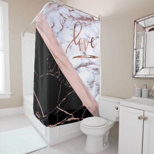 Elegant Rose Gold Faux Marble With Love Shower Curtain Zazzle