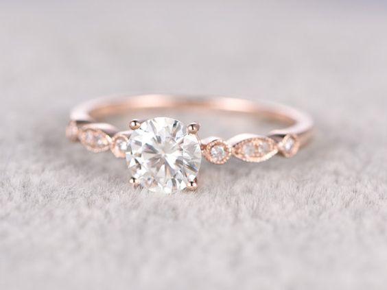 brillant Moissanite bague de fiançailles en or Rose par popRing