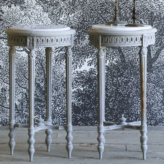 Eloquence One of a Kind Vintage Side Table Louis XVI Frost Blue Set of 2 #laylagrayce